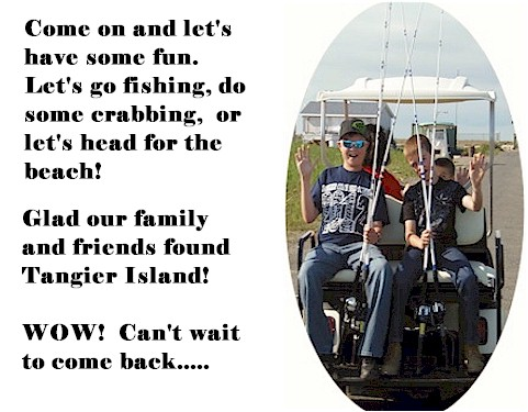 Tangier island and four brothers crab house and ice cream deck for Rent fishing gear