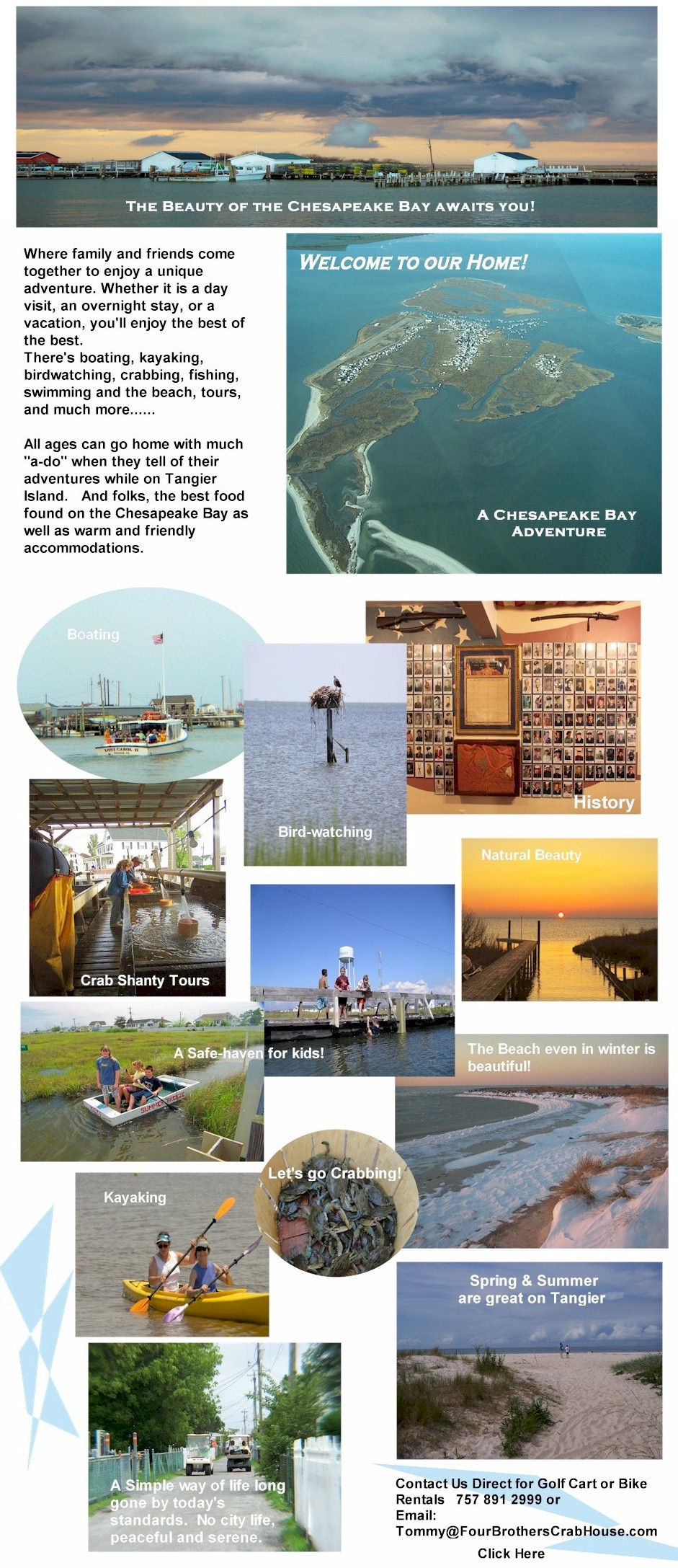 Tangier Island and Four Brothers Crab House and Ice Cream Deck